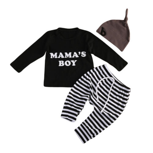 Baby Boy T-Shirts Long Sleeve Stripes Pants Hat Outfits Clothing Set 0-2T Newborn Baby Boys Clothes Sets Cotton 3pcs baby boy clothing set newborn baby girls clothes i ll eat you up i love you so rompers pants hat toddle outfits