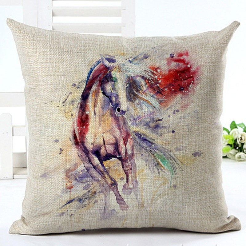 High Quality Square 18 Running Horse Painting Patterns Decorative Sofa  Throw Cushion Covers Cotton Linen Living Room Decor
