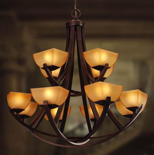 Modèle de l'europe de mode en fer forgé escalier lampe double couche 12 têtes américain grand pendentif lumière pour La Maison À Manger de lit chambre