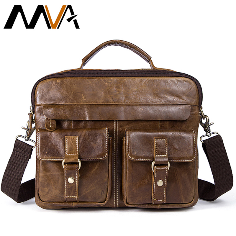 MVA Leather Laptop Bag Zipper Men Messenger Bags Genuine Leather Men's Shoulder Bag Male Crossbody Bags for Men Handbags Totes augus 100% genuine leather laptop bag fashional and classic crossbody bags leather for men large capacity leather bag 7185a