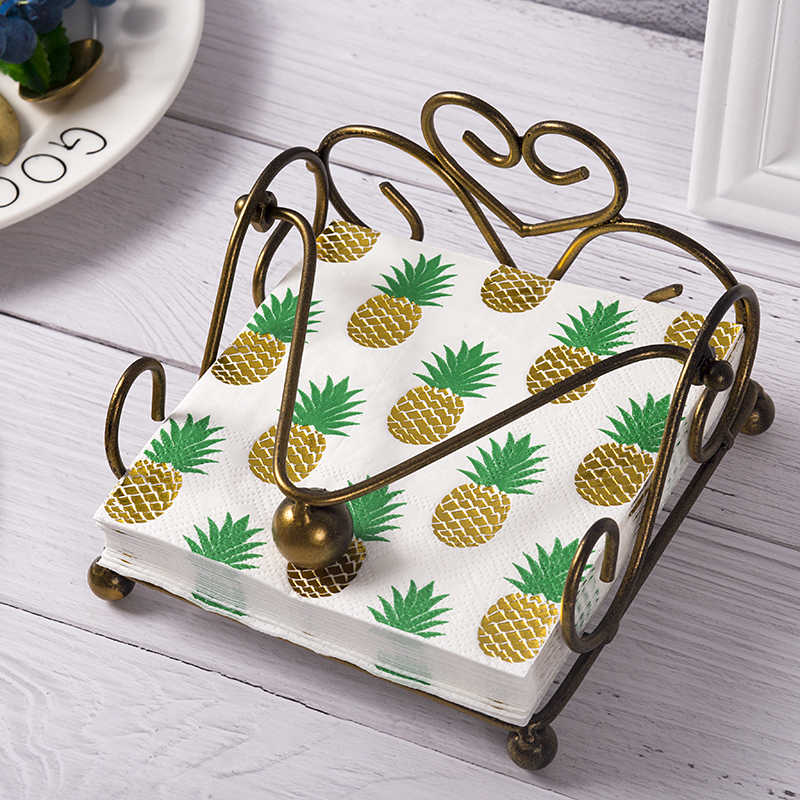 40 pces ouro abacaxi design guardanapos de papel descartáveis festa em casa jantar serviettes para festa de aniversário solteira nupcial chuveiro