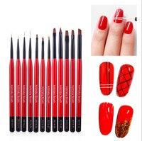 12Pcs Nail Brush Painted Thin Hook Pull Line Smudge Pen Drawing Nail Art Brush Set Nail Liner Painting Tools