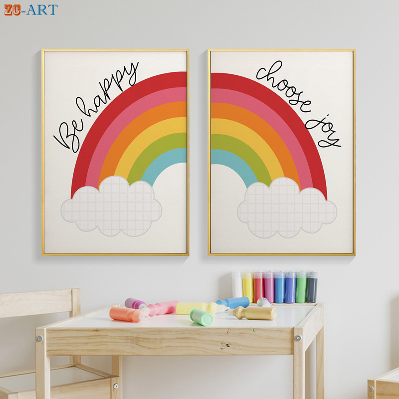 Unisex Print Gender Neutral Canvas Painting Rainbow Poster Nursery Wall Art Kids Bedroom Decorative Pictures Playroom Wall Decor