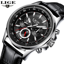 LIGE Watch Men Fashion Sports Quartz Clock Mens Watches Top Brand Luxury Leather Business Waterproof Watches Relogio Masculino