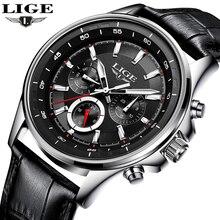 Reloj LIGE para hombre, reloj de cuarzo deportivo de moda, relojes para hombre, relojes de cuero de lujo para negocios, relojes impermeables, reloj Masculino