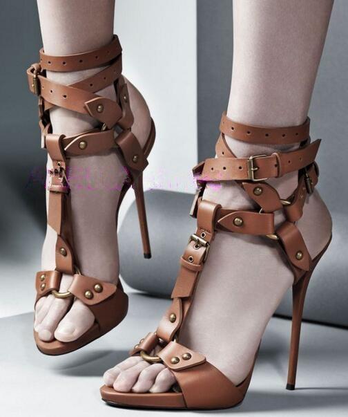 Zwart / bruin lederen enkelbandje gespen riem hoge hakken sandalen vrouwen peep teen gladiator sandalen jurk schoenen big size sandaal 43