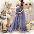 Лаванда Тюль Плюс Размер Материнства женские Формальные Пром Платья На Заказ Сделать Из Бисера Cap Рукавом Беременных Платья Особых Поводов