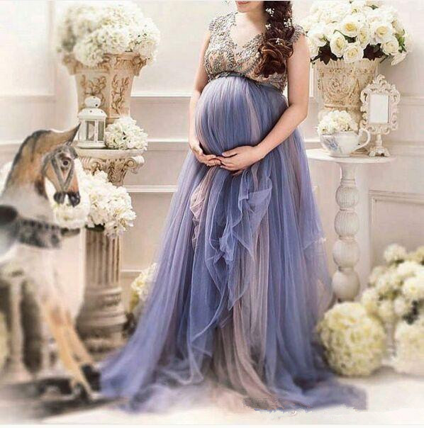 954ae6f9843 Lavender Tulle Plus Size Maternity Women s Formal Prom Dresses Custom Make  Beaded Cap Sleeve Pregnant Special Occasion Gowns-in Prom Dresses from  Weddings   ...