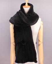 Luxury Knitted Mink Fur Scarf / Wholesale Mink Fur Shawl