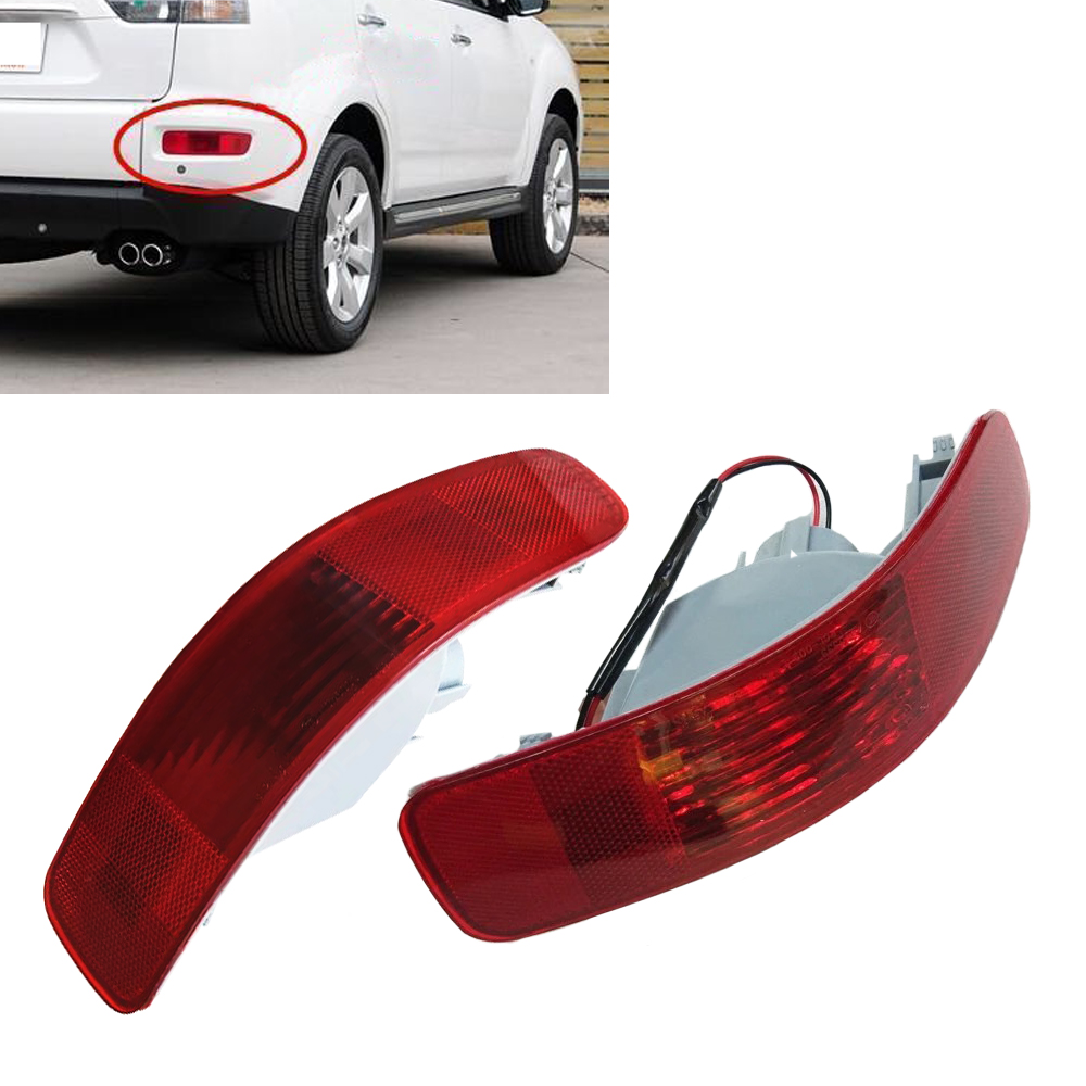 JEAZEA High Quality 1Pair Rear Bumper Right Left Tail Fog Light Lamp Reflector 8352A005 8355A004 for Mitsubishi Outlander 07-12 1 pc rh without bulb tail bumper fog light rear fog lamp right for mitsubishi outlander 2013 2015