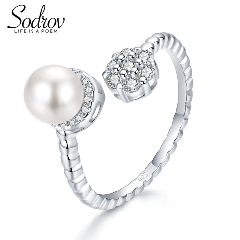 Zielsetzung Sodrov 925 Sterling Silber Perlen Ring Resizable Engagement Hochzeit Schmuck Für Frauen Hr038 Personalisierte Schmuck & Zubehör Ringe