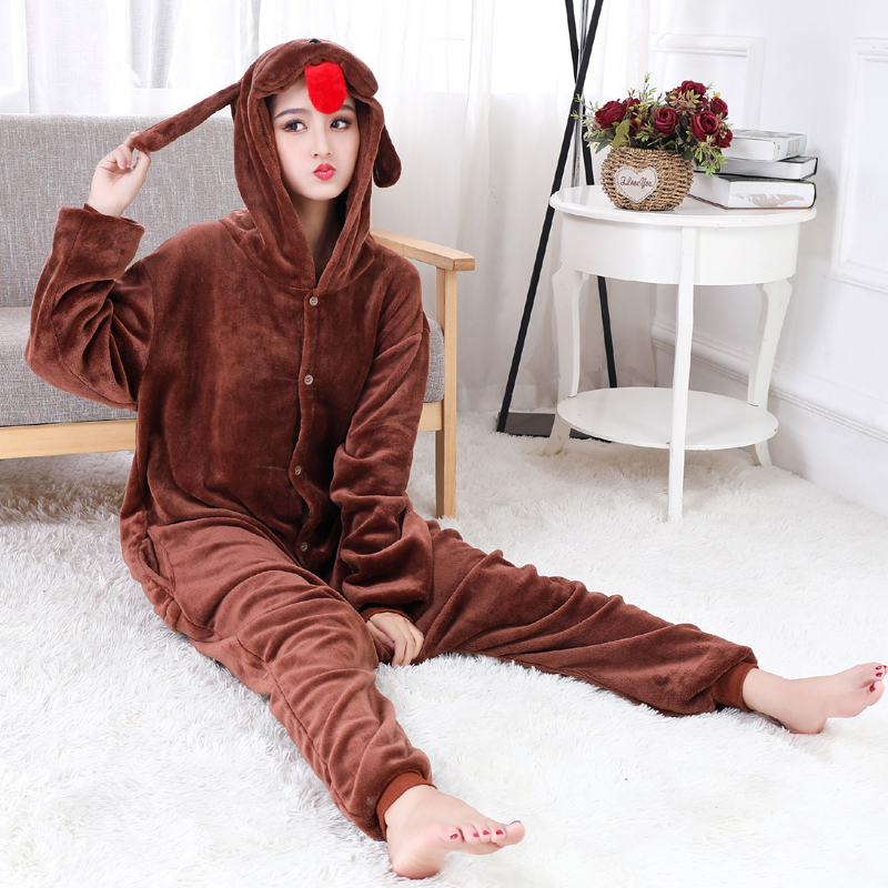 New Brown Teddy Dog Kigurumi Thick Flannel Animal One-Piece Pajamas For Onesie For Adults Cosplay Party Costume Pyjamas Suit (7)