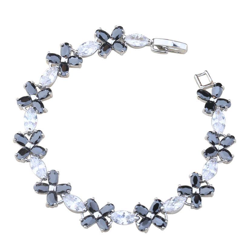 ดอกไม้อัญมณีสีดำสีขาว 925 เงินสเตอร์ลิงสำหรับสตรี Chain Link สร้อยข้อมือ 6-7 นิ้ว L20133
