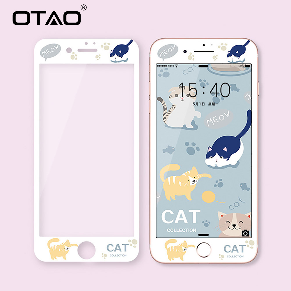 OTAO 3D Full Cover Tempered Glass For iPhone 7 8 Plus Soft Edge Colorful Screen Protector For iPhone 6 6s Plus Protective Film