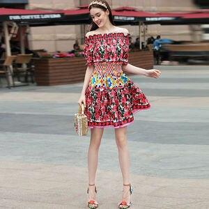 Image 5 - Короткое модельное платье высокого качества, 2020 летние новые женские модные вечерние богемные пляжные Сексуальные винтажные элегантные платья с принтом