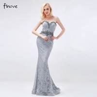 Grey Mermaid Long Evening Dresses 2016 New Style Elegant Lace With Pearls And Crystal Strapless Off