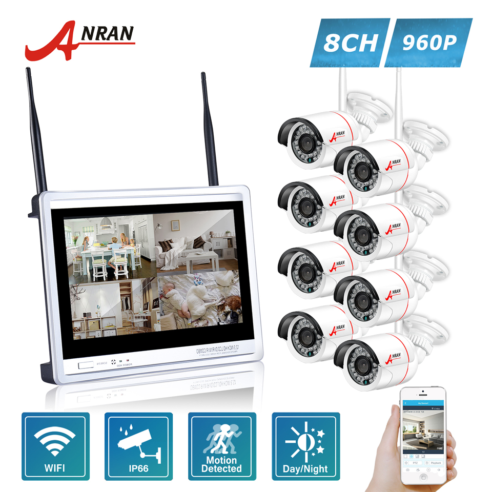 ANRAN P2P 12 Inch LCD Screen 8CH WIFI NVR 24 IR Outdoor Waterproof 1.3MP 960P Wireless IP Camera Security CCTV System Kit HDD
