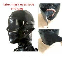 Sexy exotische lingerie handgemaakte zwarte latex kappen masker met mond gag slaapmasker ogen mond cover hood cekc zentai fetish uniform