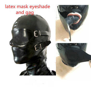 sexy exotic lingerie handmade black latex hoods mask with mouth gag eyeshade eyes mouth cover hood cekc zentai fetish uniform - DISCOUNT ITEM  14% OFF All Category