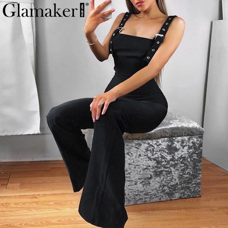 Glamaker Black high waist   jumpsuit   women summer sexy tank fitness wide leg   jumpsuit   spring streetwear playsuit romper overalls