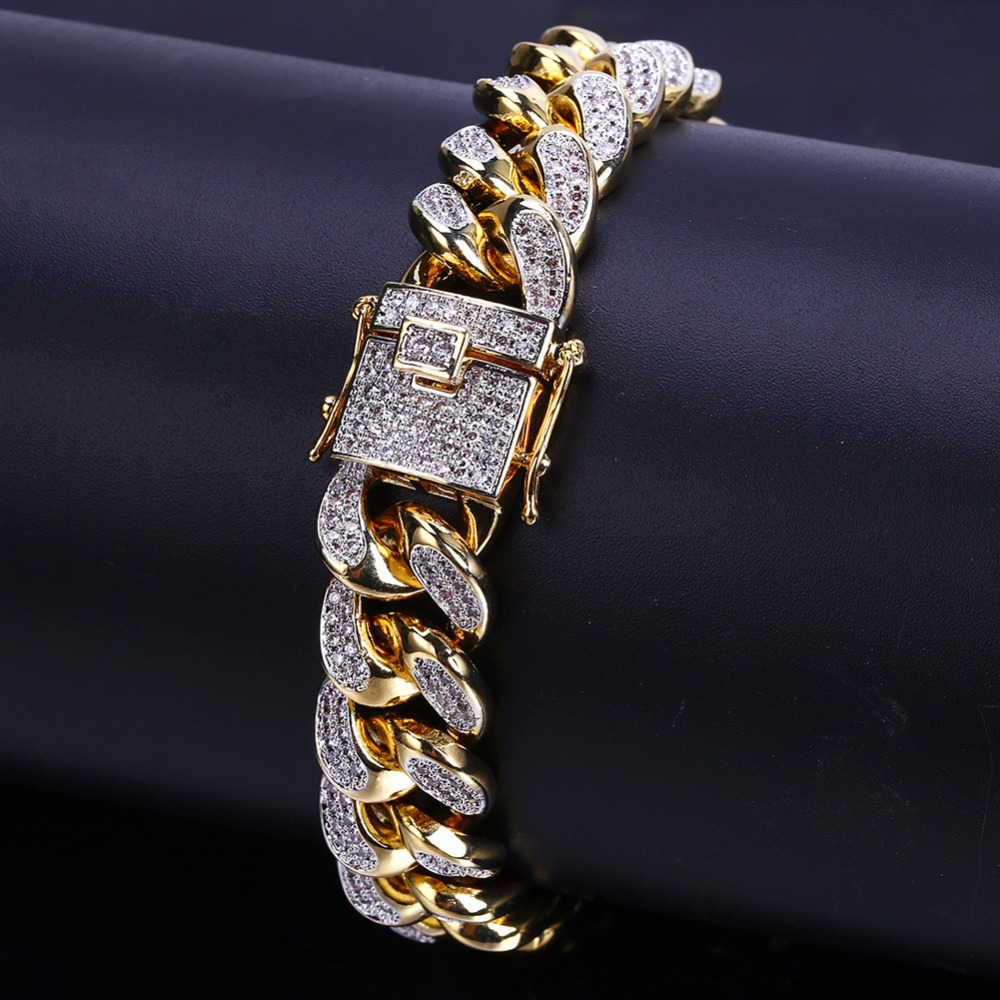 13mm Miami Curb Cuban Chain Bracelet For Mens Hip Hop Bling Iced Out CZ Rhinestones Bracelets Rapper Jewelry Gold Silver Color topgrillz spikes rivet stud mens rivet charm bracelets 2018 iced out gold silver color bracelets for men hip hop punk jewelry