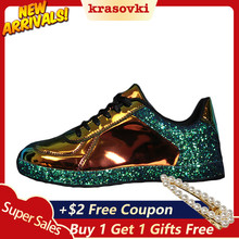 Krasovki Women Sneakers Dropshipping Woman Lady Ballet Flats Glossy Glitter Shinny Bling Fashion Casual Oxford Shoes