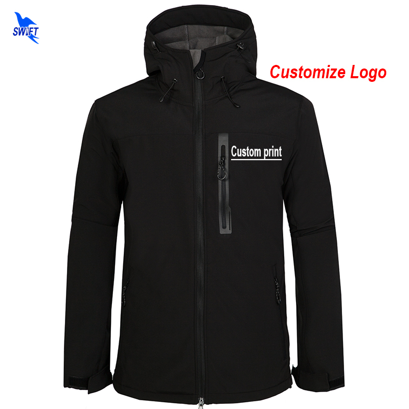 Custom Print Men s Winter Softshell Hiking Jackets Outdoor Sports Hooded Coats Camping Trekking Skiing Waterproof