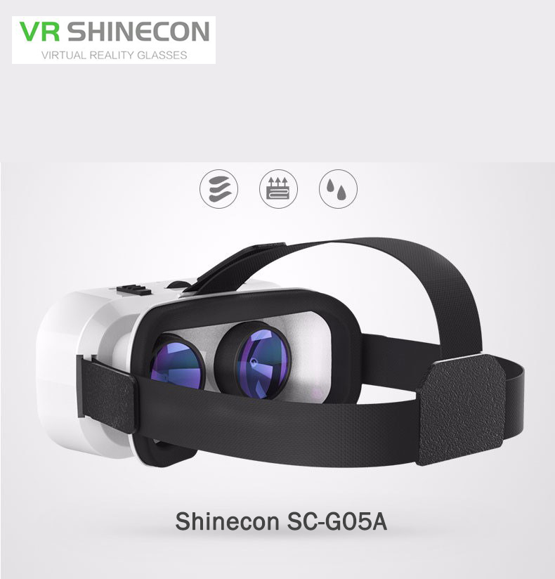 2017 Hot Shinecon VR Virtual Reality 3D SC-G05A Glasses Helmet Google Cardboard for iPhone Samsung 4.7