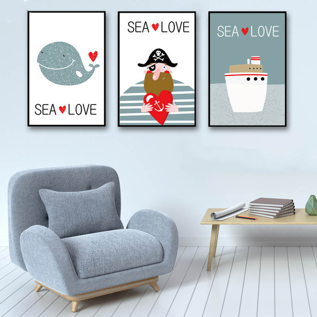 Nordic Simple Style Cartoon Whale Pirate Ship Inspirational Poster Art Hd Print Canvas Wall Sea Love Painting Child No Framed