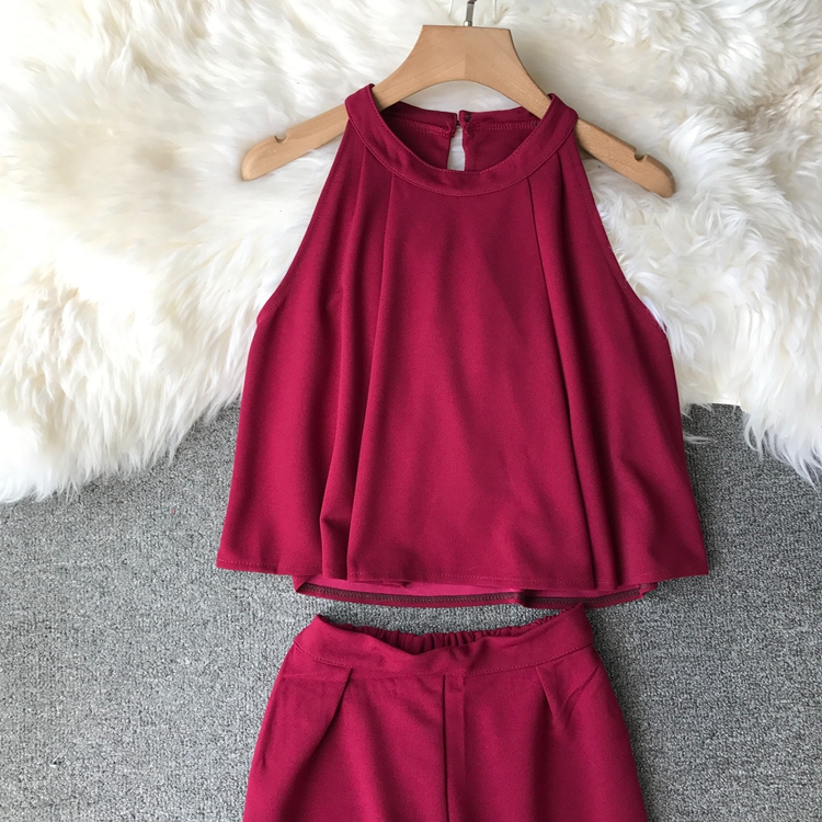 HTB1vvIoVCzqK1RjSZFLq6An2XXag - two piece set women fashion sexy short top and long pants casual sleeveless Elastic high waist female summer festival clothing