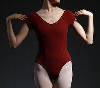 New V-cổ tay áo sơ mi người lớn chuyên nghiệp nhảy múa ba lê đồng phục Girl Red xám leotards múa ba lê Trang phục váy