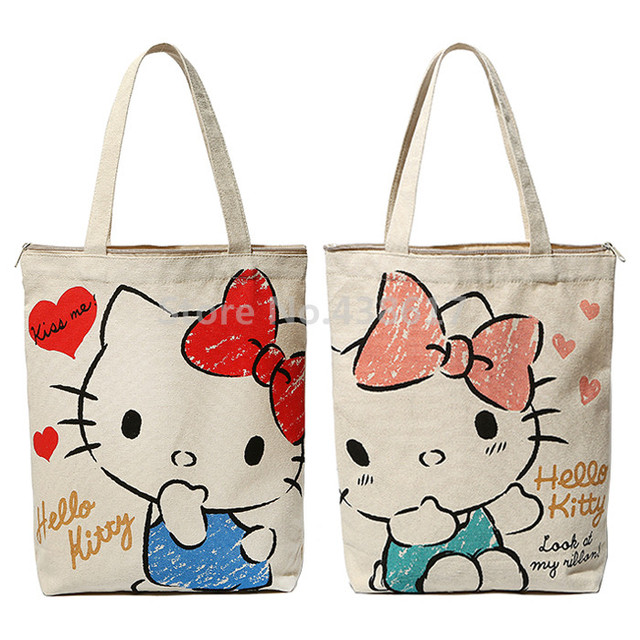 7c5c011e9e44 Kawaii Hello Kitty Canvas Women Bag Shoulder Bags Large Handbag Cute  Cartoon School Book Girls Shopping Bag