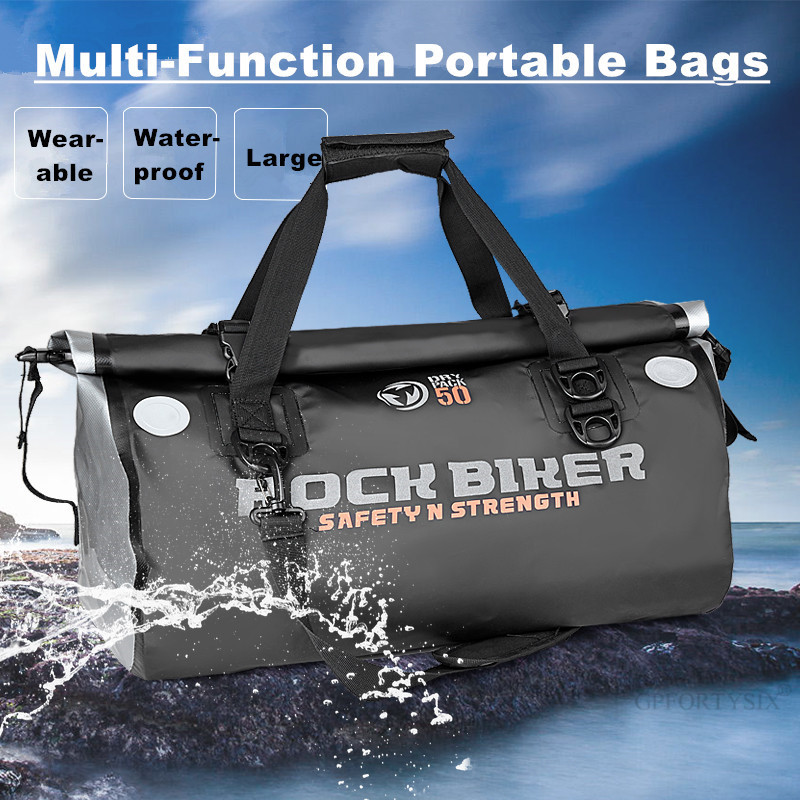 ROCK BIKER Motorcycle Rear Bag Motorbike Travel Back Seat Bag Tail Bag Waterproof Luggage Large capacity