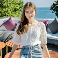 2018 Women New Summer Fashion Solid Lace Embroidery Button Cutout Elegant Blouses Casual Top S,M,L