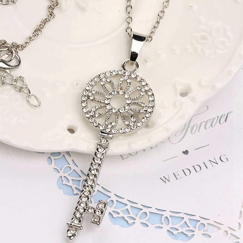 Silver Platedคริสตัลเต็มRhinestoneจี้สร้อยคอโซ่กุญแจยาวผู้หญิงคำสั่งดอกไม้เสน่ห์เค้นคอเครื่องประดับผู้หญิง