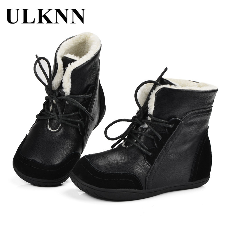 купить ULKNN Boys Winter Boots Kids Ankle Fur Snow Boots Children Martin Genuine Leather Warm Plush Waterproof Lace Up bota Shoes Black по цене 1000.24 рублей