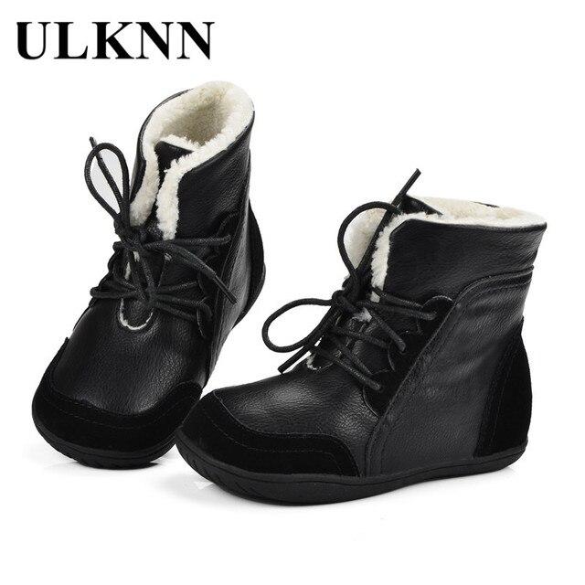 ULKNN Boys Winter Boots Kids Ankle Fur Snow Boots Children Martin Genuine Leather Warm Plush Waterproof Lace Up bota Shoes Black