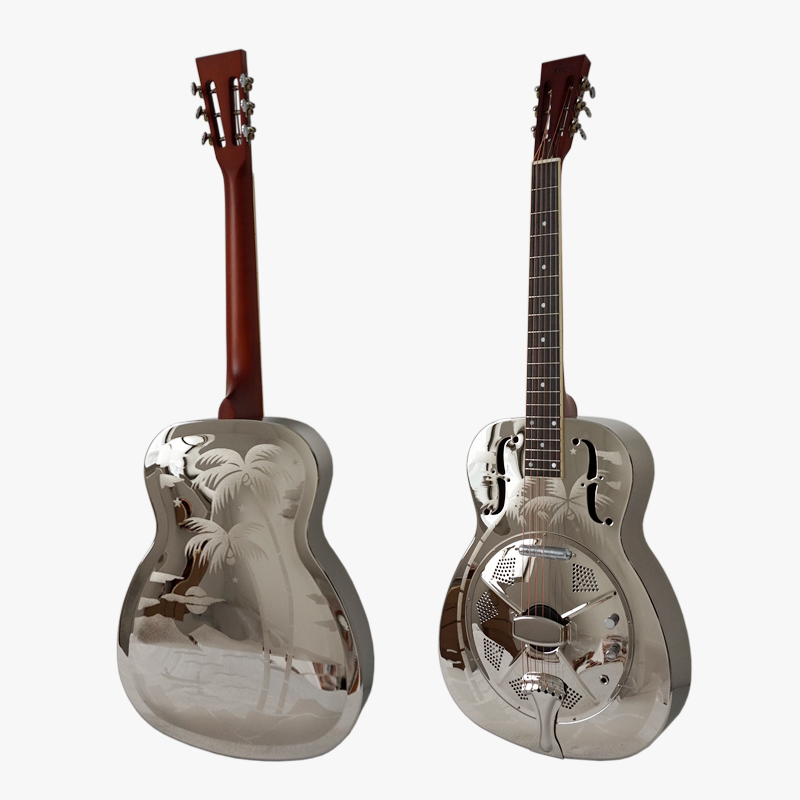 Aiersi Hawaii Tree Palm Pattern O Style Brass Body Electric Resonator Guitar With Case and Strap