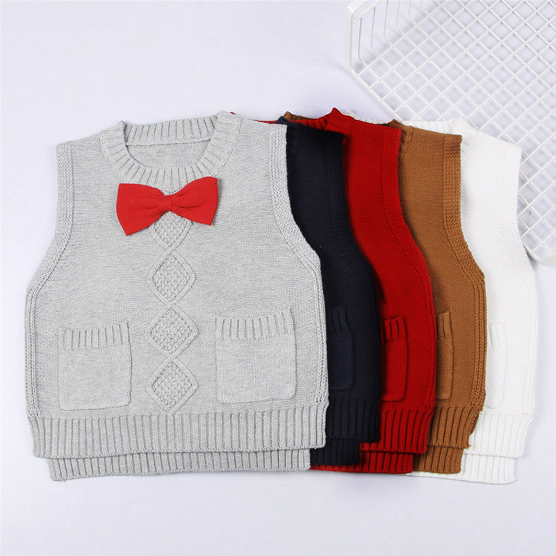 0-5yrs Baby Girls Knitted Vest Sweater New 2017 Spring Bow Vest Kid Boy Cardigan Child Outerwear Waistcoat Casual Clothes