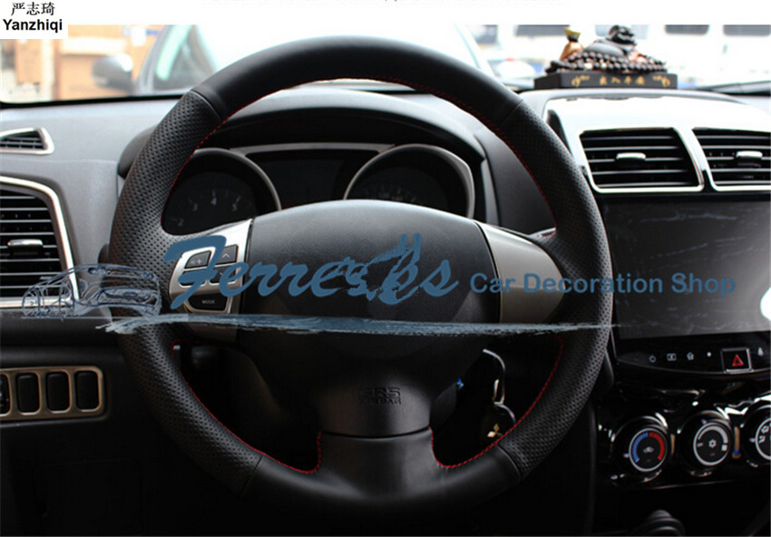 Free Shipping Sew-on Genuine Leather Car Steering Wheel Cover Car Accessories For Mitsubishi ASX Lancer-EX Outlander