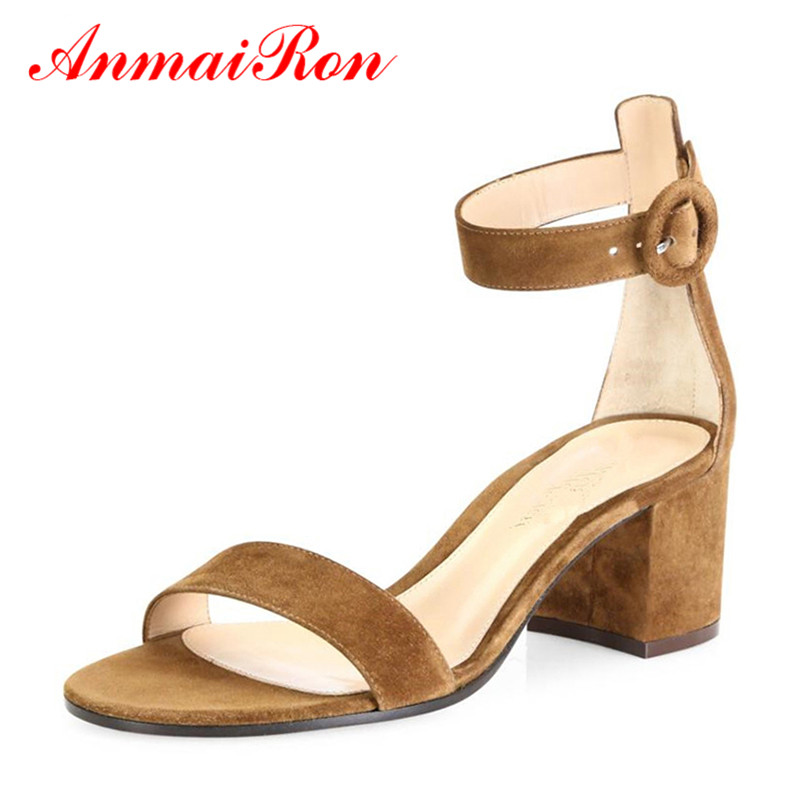 ANMAIRON Sexy Open Cover Heels Chunky Heels Sandals Med Heels 2 Styles Genuine Leather Shoes Woman Suede Summer Women Sandals faux suede ruffle chunky heels mauve