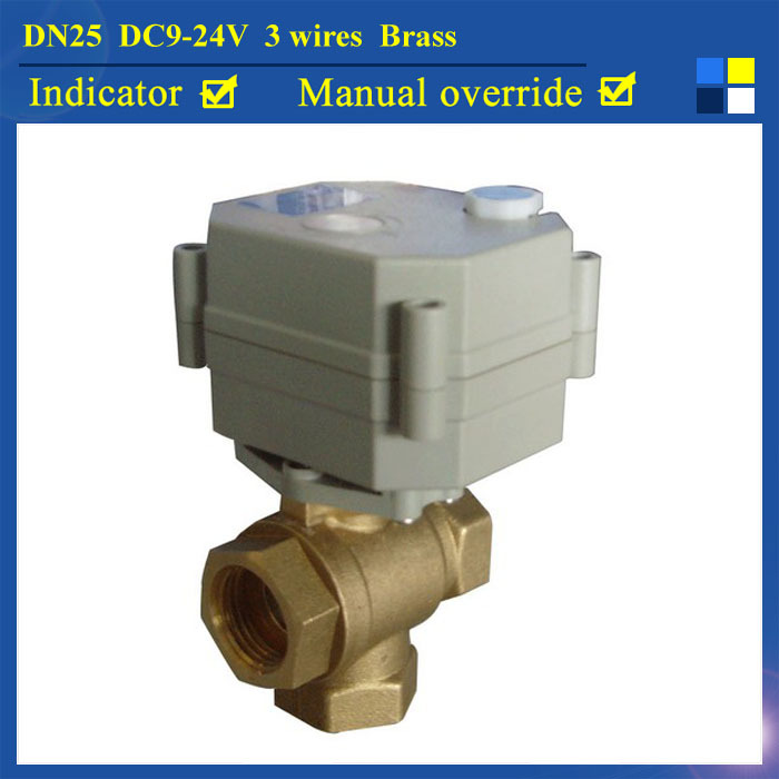 1 DC9-24V 3 wires 3 Way T type Motorized Ball Valve with manual override for water heating HVAC 1 dc12v 2 wires 3 way electric valve t type 2 wires manual override available for water heating hvac air conditional