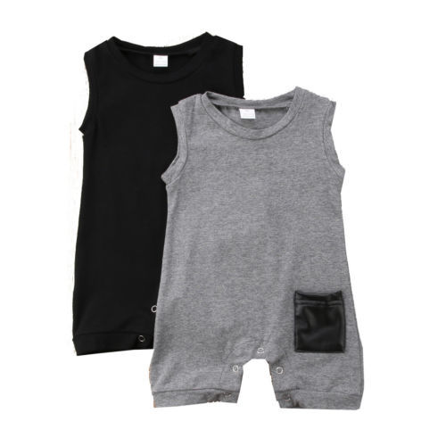 Summer Sleeveless Pocket Cotton Jumpsuit Sunsuit Boy Rompers Clothing Casual Cute Clothes 0-24M Toddler Kids Baby Boys Romper 1