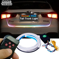 Wireless Remote RGB Changing LED Strip Rear Trunk Light 120cm 150cm RED Yellow Car Brake Turn