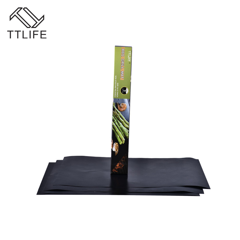 TTLIFE Hot sale 3pc Non-Stick BBQ grill mats sheet for Baking on Gas Heat Resistant For use in oven and microwave High Quality