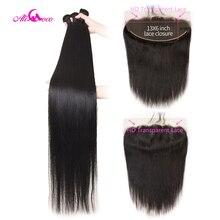 עלי קוקו ברזילאי ישר שיער חבילות עם 13X6 פרונטאלית 30 Inch חבילות עם HD שקוף תחרה פרונטאלית 32 34 36 רמי שיער