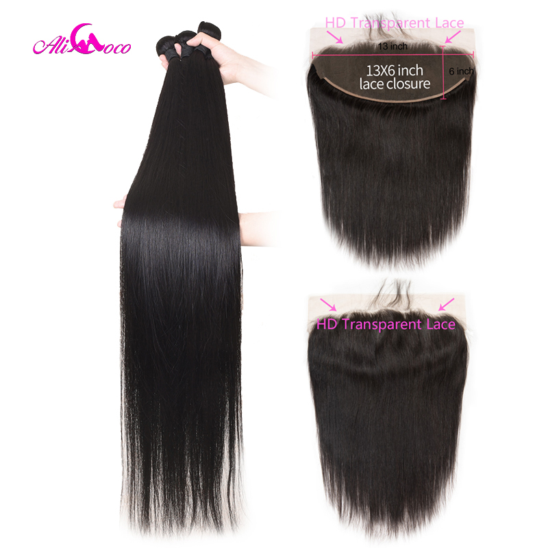 Ali Coco Brazilian Straight Hair Bundles With 13X6 Frontal 30 Inch Bundles With HD Transparent Lace Frontal 32 34 36 Remy Hair