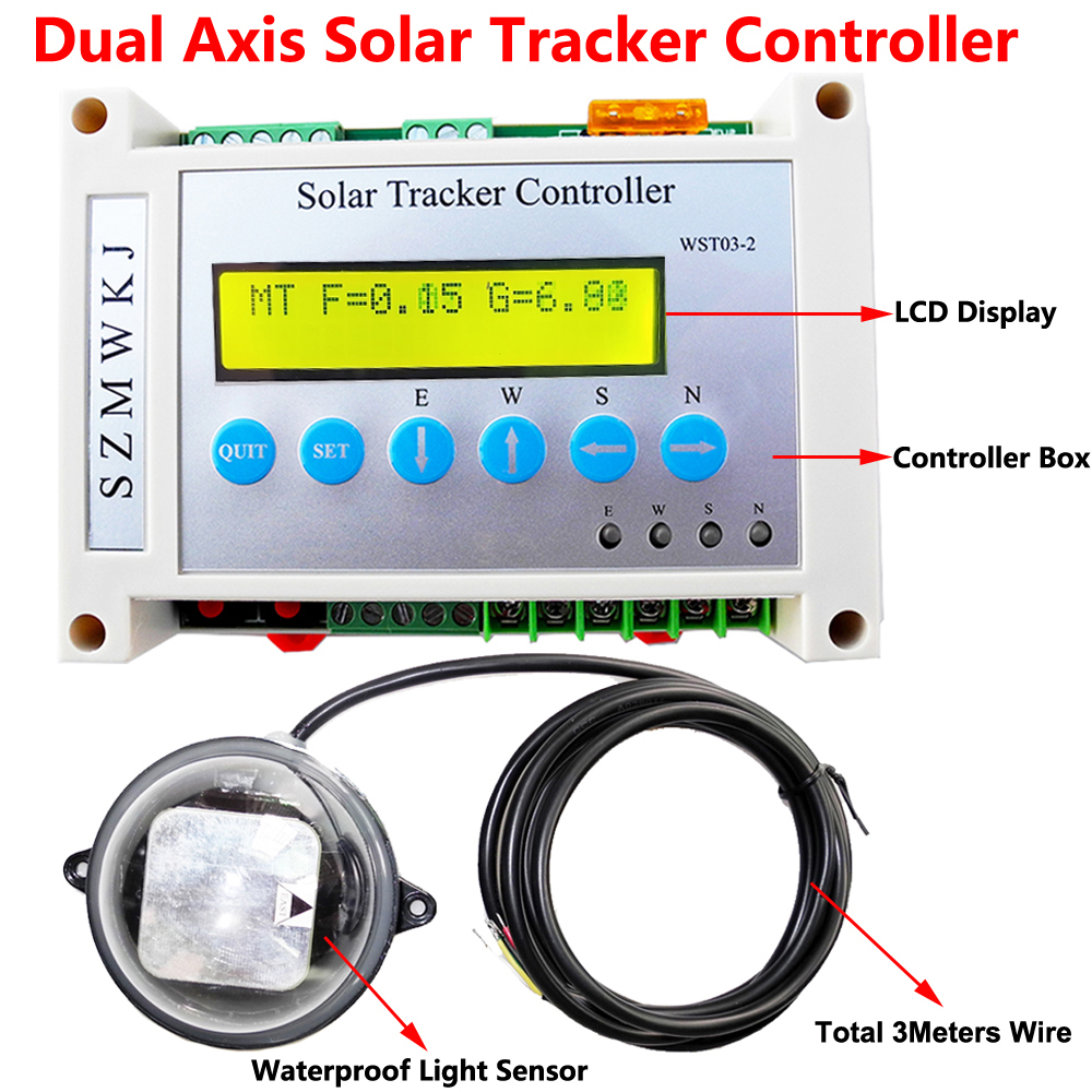 Complete Solar Tracking Electronic LCD Controller Dual Axis Solar Tracker Linear Actuator Controller for PV Solar