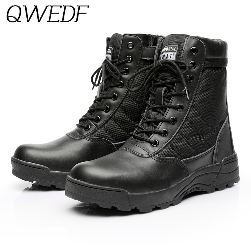 QWEDF Men Tactical Military Army Boots Breathable Leather Mesh High Top Casual Desert Work Shoes Mens SWAT Ankle Combat B4-49