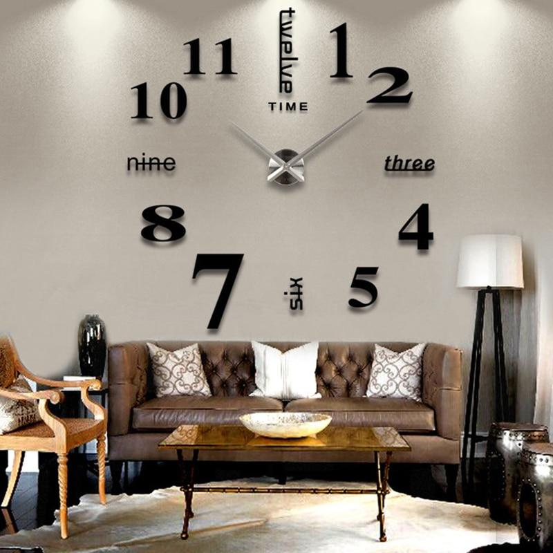 Decoration big mirror wall clock modern design 3D DIY large decorative wall clocks watch wall unique gift
